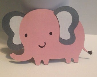 Elephant Baby Shower Decorations, 2 inch Pink Elephant Die Cuts, Baby Girl Shower, Safari Animal Baby Shower, Elephant Party Decorations,