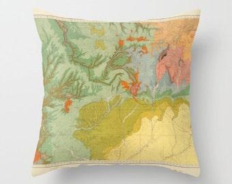 Southwest Map Pillow  -  Colorado, Utan, New Mexico, Arizona, geological study map,   Vintage Maps, unique, colorful, rectangular