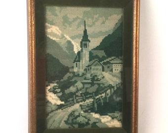 Green Needlepoint Art, Church Farm Decor, Grass Hill, Bridge, Trees, Mountains, Clouds - Vintage Wood Frame - Forest, Olive, Hunter, Sage