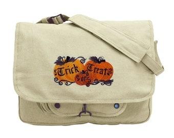 Trick or Treat Jack-o-Lanterns Embroidered Canvas Messenger Bag