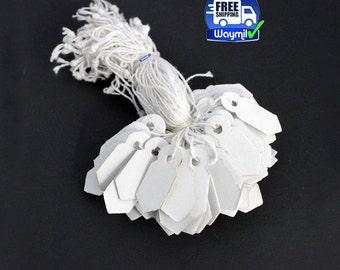 """Paper Jewelry Tags # 2 Arrow Edges 1"""" X 3/8"""" Strong Cardboard 1000 Pcs WA 600-010"""
