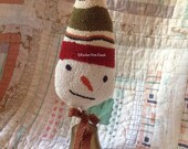OOAK! Finished Punch Needle Snowman Make-Do on Antique bell. Original Design by Perfect Prim Punch