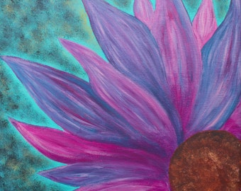 Daisy Blossom Flower Purple Pink Spring Summer Acrylic Painting Original Floral 12 x 12 Minimalist Contemporary Wall Art  to Hang