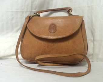 Free ship Polini Italy brown leather satchel shoulder bag purse