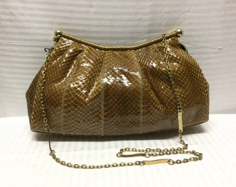 Susan Gail Spain,Snake skin Leather Bag, Brown, SnakeSkin, Leather, Bag,purse , Free shipping in the US