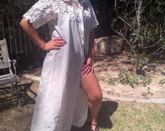 Long ,off white ,boho dress,embroidered dress ,roses