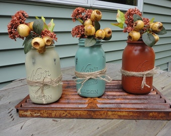 Fall Mason Jars, Autumn Jars, quart size jars, Mason Jar Decor, Centerpiece, Fall Centerpiece, Mason Jar Centerpiece, Distressed Vases