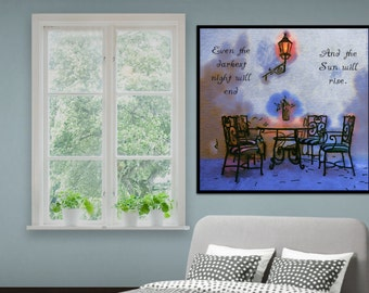Printable quote. Even the darkest night will end and the Sun will rise. Wall art. Printable art