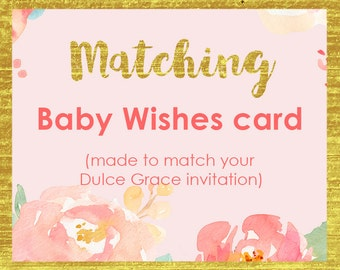 baby wishes card, First wishes card, baby shower game, printable, ADD-ON made to match, customised with your event details