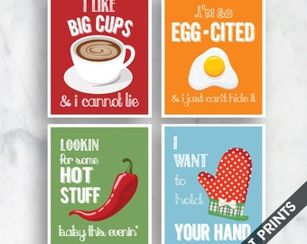 Big Cups, Egg-Cited, Hot Stuff, Hold Hand (Funny Kitchen Song Series) Set of 4 Art Prints (Featured in 12, 15, 18, 10) Kitchen Art