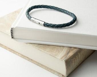 Personalised Men's Capsule Tube Woven Bracelet In Aegean Blue - Men's Jewellery - Anniversary Gift - Gift For Husband - Gift For Boyfriend -