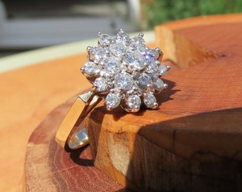 14k yellow gold 1.4 Carat diamond star cluster ring.