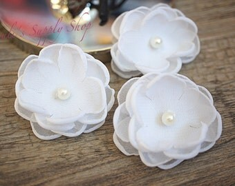 "Set of 3 White - 1.5"" Chiffon Flowers w/ Pearl Center - Petite flower - Chiffon Flower -Fabric Flower - wholesale flowers - Headbands Supply"