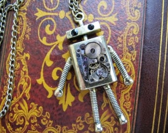 Steampunk, Steampunk Jewelry, Steampunk Necklace, Jewelry, Watch, Robot,  Watch Parts Timepiece, Robot Necklace, Gift idea, Heart