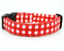 Red Gingham Dog Collar -  DC-061
