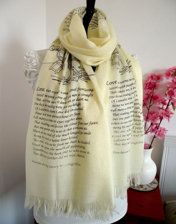 ... Book Silk Scarf pashmina Book Lovers Gift Scarf Classic Literature