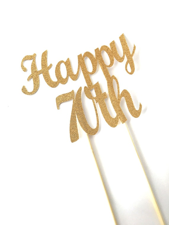 Happy 70th Gold Glitter Cake Topper 70 Seventy Birthday Bling
