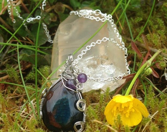 Teardrop Agate Wire Wrap Necklace