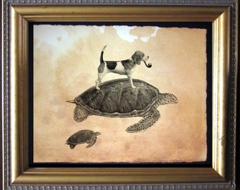 Beagle Dog Riding Sea Turtle - Vintage Collage Art Print on Tea Stained Paper - Vintage Art Print - Vintage Paper