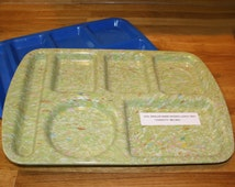 "Vtg. PROLON Ware Divided Lunch Tray; ""Confetti"" Sage Green Melmac. 14-3/4"" x 9-7/8"".  Includes a BONUS Blue Tucker Housewares Plastic Tray!"