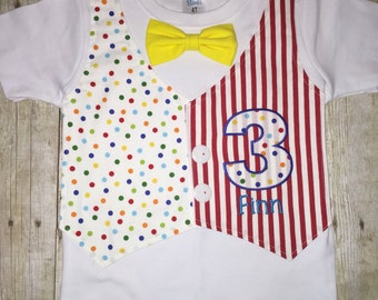 Circus Birthday Shirt - Carnival Birthday Shirt - Mock Vest with Buttons - embroidered shirt - Birthday Shirt - Stripes and Dots