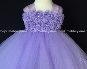 Flower girl tutu dress lavender shabby