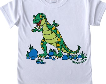 Childrens T shirt to Colour in T Rex Robots Diggers Doodle Colouring In Tee Shirt Boys Designs Boys T shirts Childrens' Fun Activities