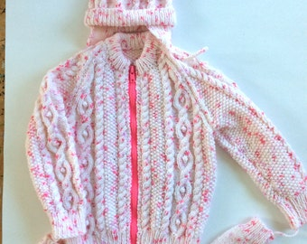 "Hand knitted children's sweater with hat and mitts, girl, chest size 22"", kids knit pink toddler cabled style"
