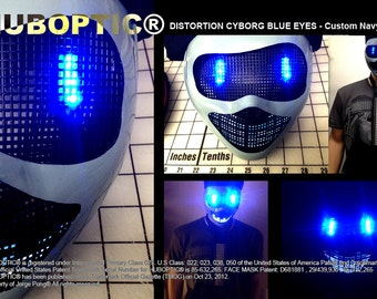 Cyborg Blue Eyes Robot Mask - Navy Gray Mask Bot Light Up Mask LED Mask Rave Mask for DJ Gigs Scifi Robot Cosplay Costume Halloween Party