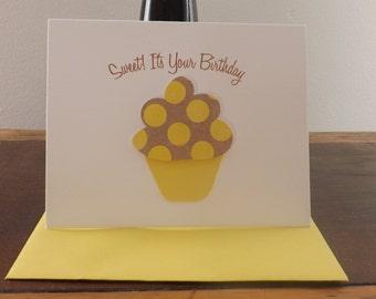 Birthday Card - Birthday Cupcake Card - Cupcake Card