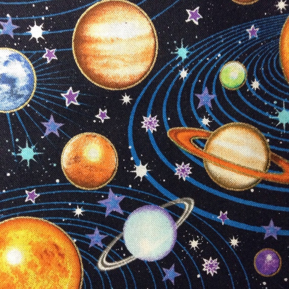 One half yard of fabric material outer space toss from for Outer space fabric by the yard