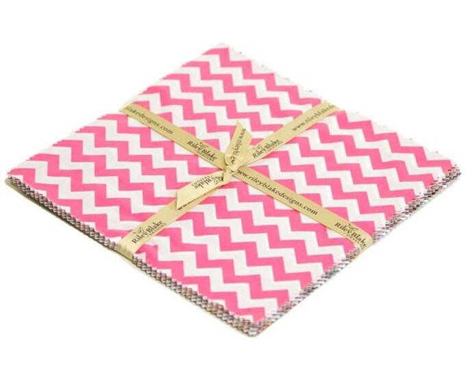 "Riley Blake - Mini Chevrons - 10"" x 10"" Squares  - Cotton Woven Fabric"