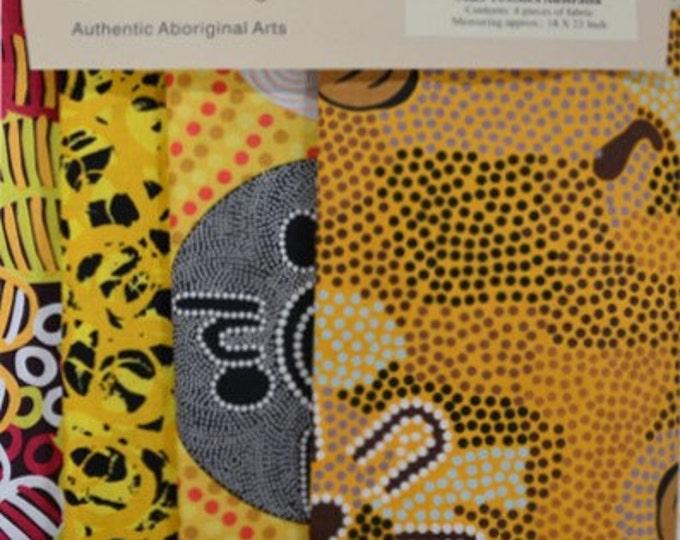 4 Fabric FAT QUARTER Pack Yellow 4 Different Fabrics Australian Aboriginal Fabric Quilt Shop Material by M & S Textiles Australia
