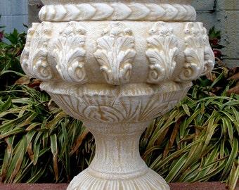"""Vintage Sandstone Urn Planter Antiqued 17"""""""
