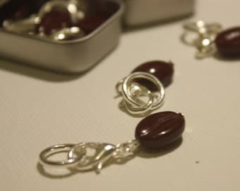 Coffee Bean Stitch Markers - for Knitting and Crochet