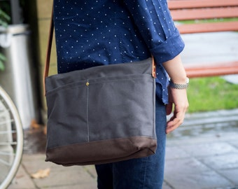 Satchel | Waxed Canvas and Leather | Shoulder Bag | Crossbody | Small Messenger | iPad Size | 4 Pockets | Charcoal Grey