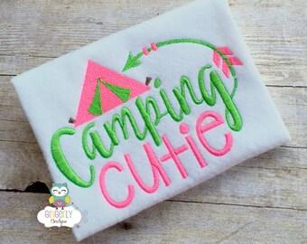 Camping Cutie Shirt or Bodysuit, Girls Camping Cutie Shirt, Camping Cutie,  Girls Camping Shirt, Summer Camping Shirt, Campfire Shirt