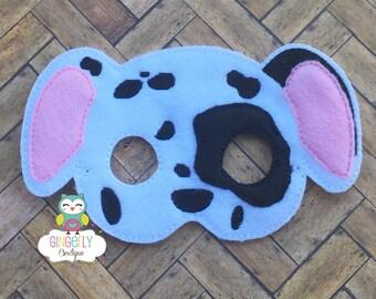 Dalmation Mask, Kids Dress Up Mask, Dog Costume Mask, Wool Blend Mask, Felt Dog Mask, Jungle Party Favor, Monkey Mask