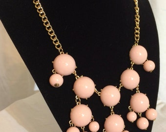 Bubble/Bauble Necklace in Pale Pink and Gold