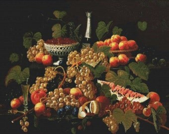 Still Life with Fruit and Champagne PDF Cross Stitch Pattern
