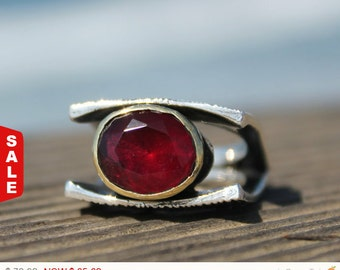 Faceted Garnet Ring,Turkish Ring, Sterling silver ring, Bridal ring, vintage ring,mix metal ring, Birthstone ring, Garnet ring RIRI208