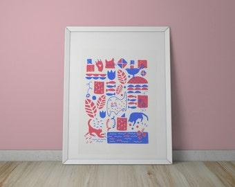 A3 Cat Pattern Screen Print