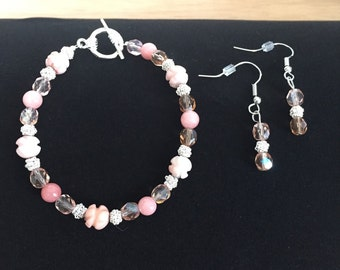 Pink Rose and Silver bracelet & earring set