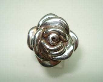 Sterling Silver Blooming Rose Ring Size 7