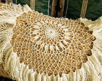 Antique// Hand Crocheted// Fringed Table Center PIECE// Gorgeous Work!