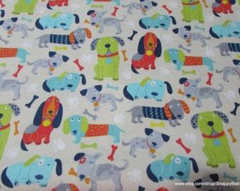 Flannel Fabric - Multi Puppies Cream - 1 yard - 100% Cotton Flannel