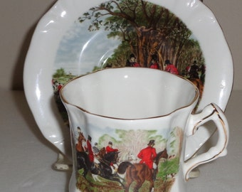 Hammersley Danbury Mint Hunt Scene Cup and Saucer 39-4 Fine Bone China Made in England