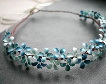 Hortensia: Hydrangea flower crown in shades of pastel blue, handmade, flower wreath, wedding, bridal, bride, boho, hippie