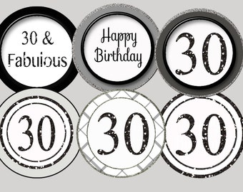 30th birthday toppers,  30th cupcake toppers, silver Black Glitter 30th favor tag 30 stickers, 30th party 30th birthday party printable