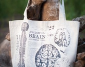 Vintage Medical Anatomy: Brain Tote Bag - A great gift for girlfriends boyfriends teachers moms anyone who loves anatomy and science